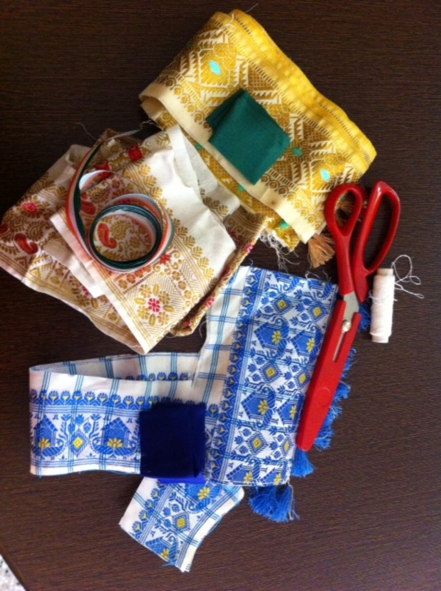 Gather the scrap fabric: Here it is old silk sari border, colored ribbon, matching threads