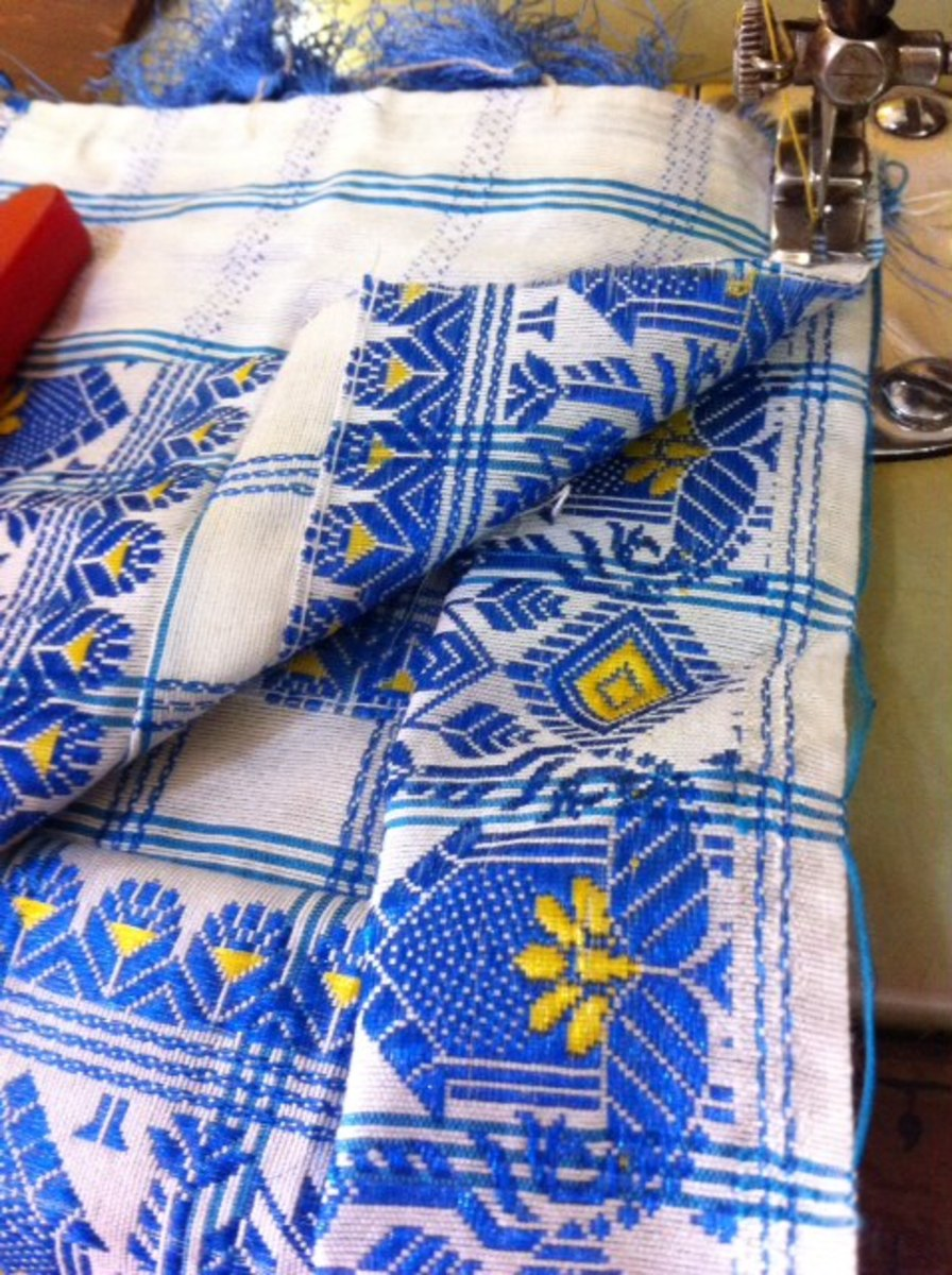Keep a lining in between and sew on the reverse side first