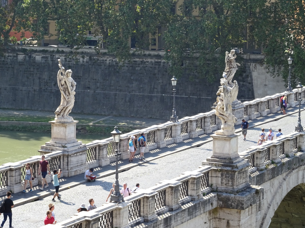 Sculptures on the bridge in Rome