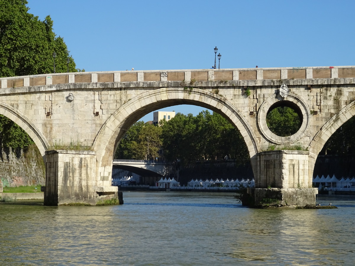 Bridge of the Tiber River in Rome