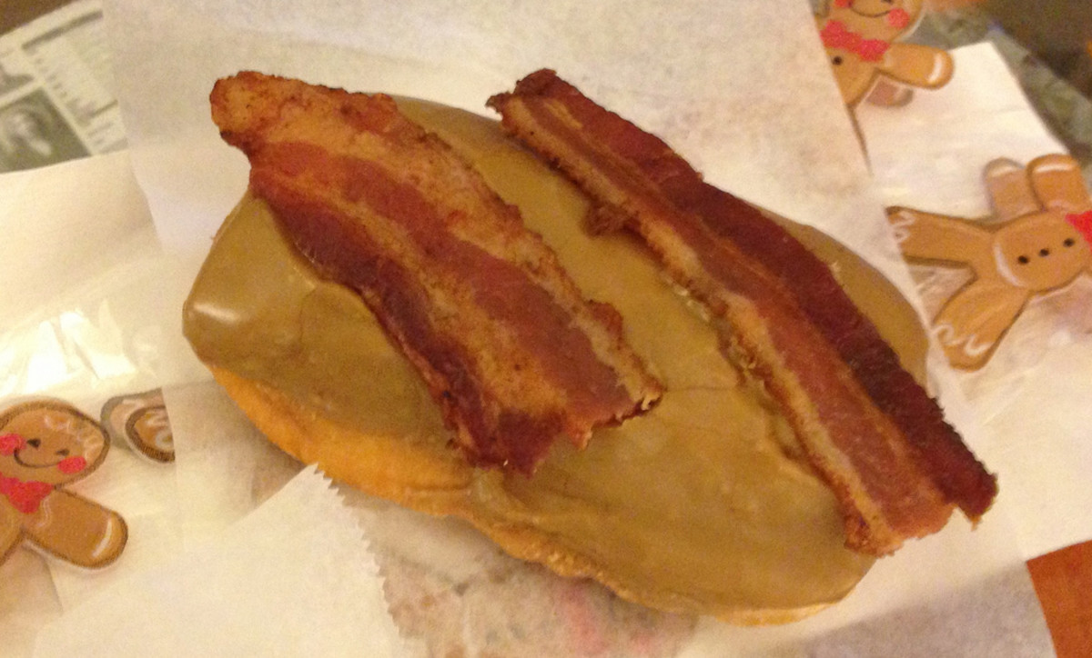 Yes, a maple bar with bacon!