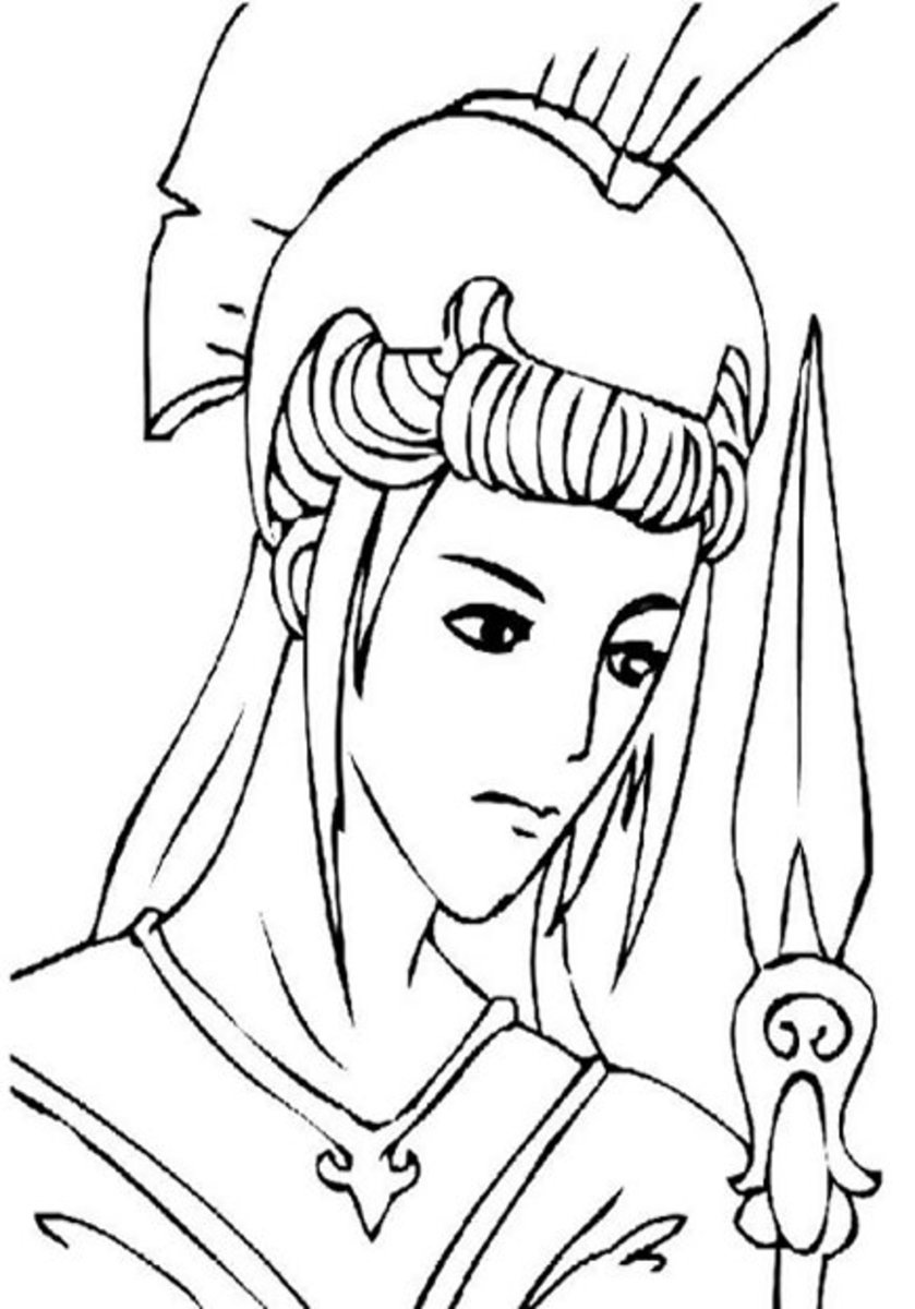 Athena. Virgin goddess of wisdom, warfare, strategy, heroic endeavor. Greek Gods Kids Coloring Pages and Goddess Goddesses Colouring Pictures