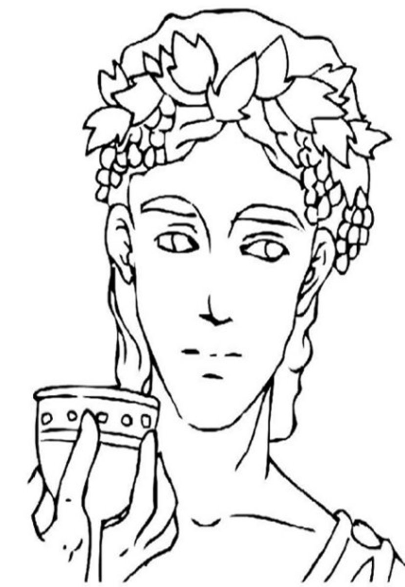 Dionysus. God of wine, parties and festivals, madness, drunkenness and pleasure. Greek Gods Kids Coloring Pages and Goddess Goddesses Colouring Pictures