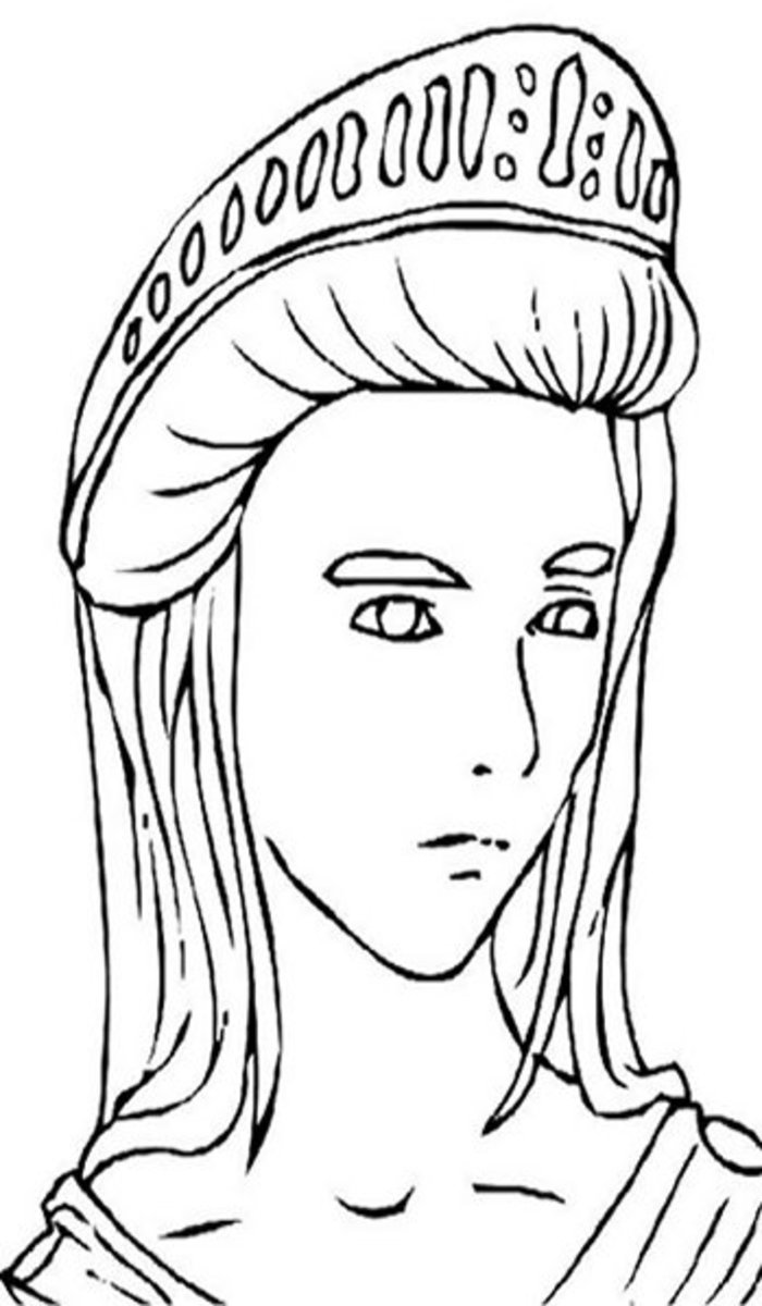 Hera. Queen of Heaven and goddess of marriage, women, childbirth, heirs, kings and empires. Greek Gods Kids Coloring Pages and Goddess Goddesses Colouring Pictures