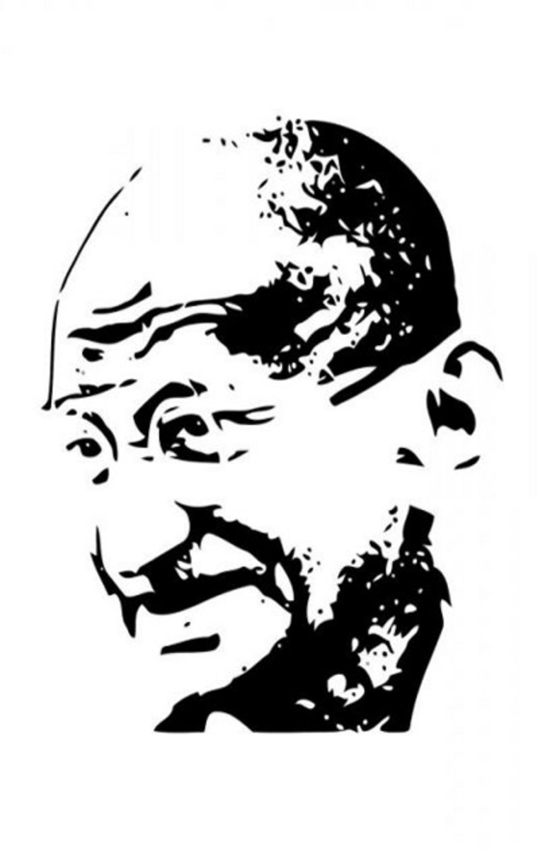Mahatma Gandhi Kids Coloring Pages with Free Colouring Pictures to Print - Half White Image