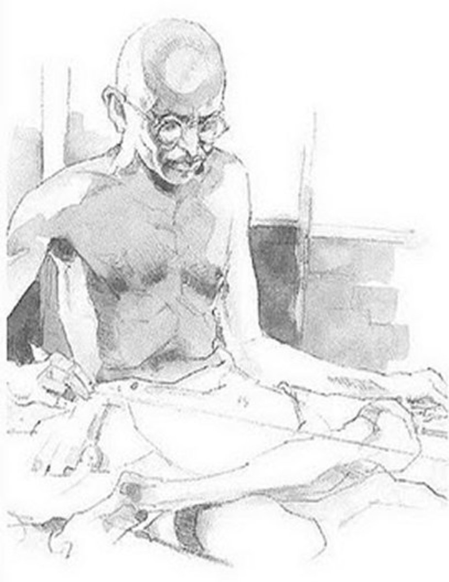 Gandhi at Prayer  - Mahatma Gandhi Kids Colouring Pictures to Print-and-Colour - Childhood Education Programs