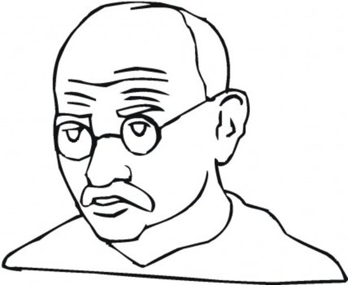 Mahatma Gandhi Kids Coloring Pages with Free Colouring Pictures to Print -  Caricature
