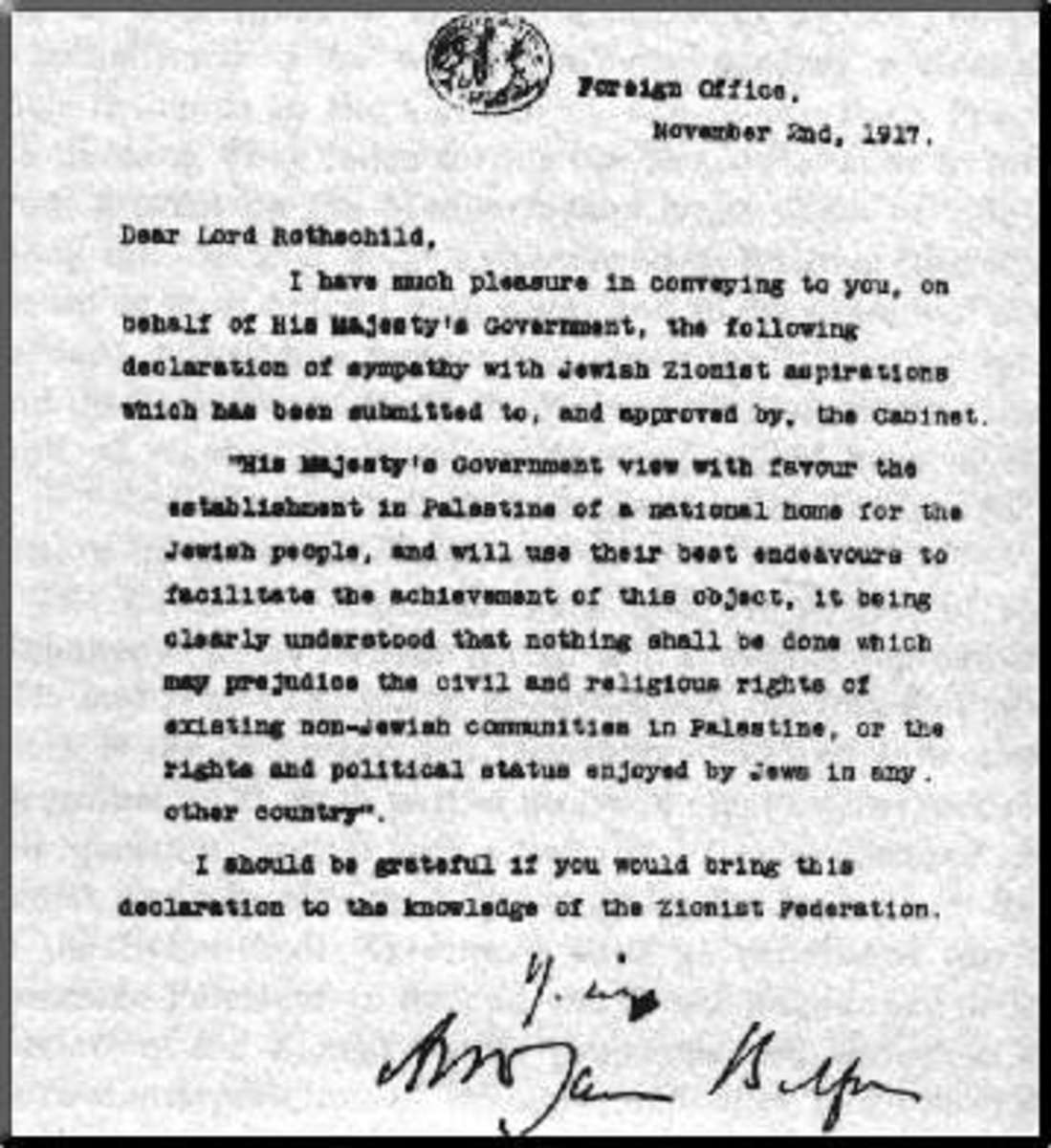 The Balfour Declaration.