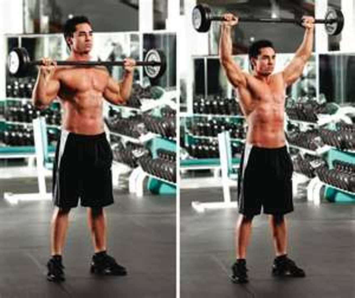 The photo shows the hand position after pulling the barbell upwards and flicking hands under the bar then pressing the bar upwards.