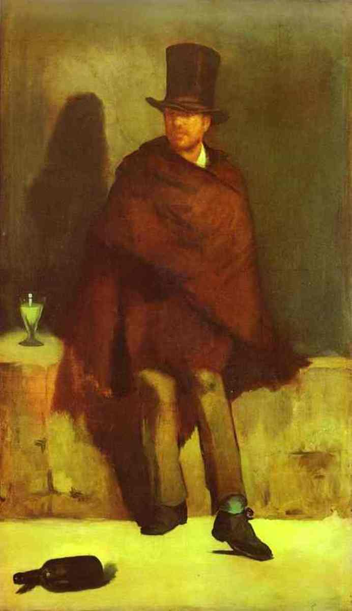 Note the big blocks of colour in Manet's 'The Absinthe Drinker' very unlike the typical light, bright varied colours of the typical Impressionist style