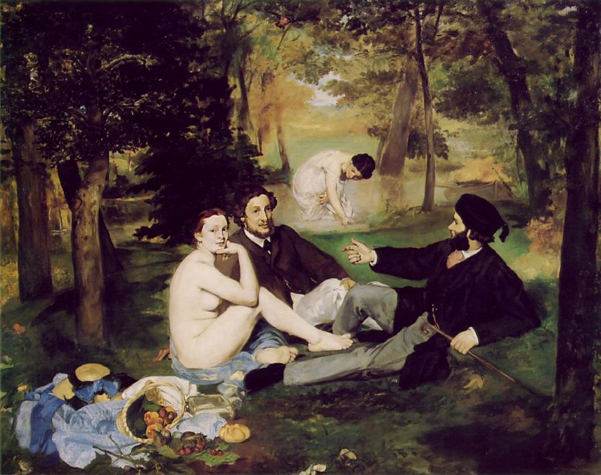 Manet's controversial Dejeuner sur L'Herbe, seemingly based on Raphael's 'Judgement of Paris'.