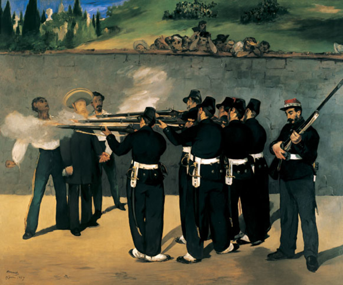 The Execution of Maximilian was a controversial painting by Edouard Manet. Maximilian was an Austrian, installed as Emperor in Mexico by Napoleon. But when Napoleon's troops withdrew, the Mexican forces executed him.