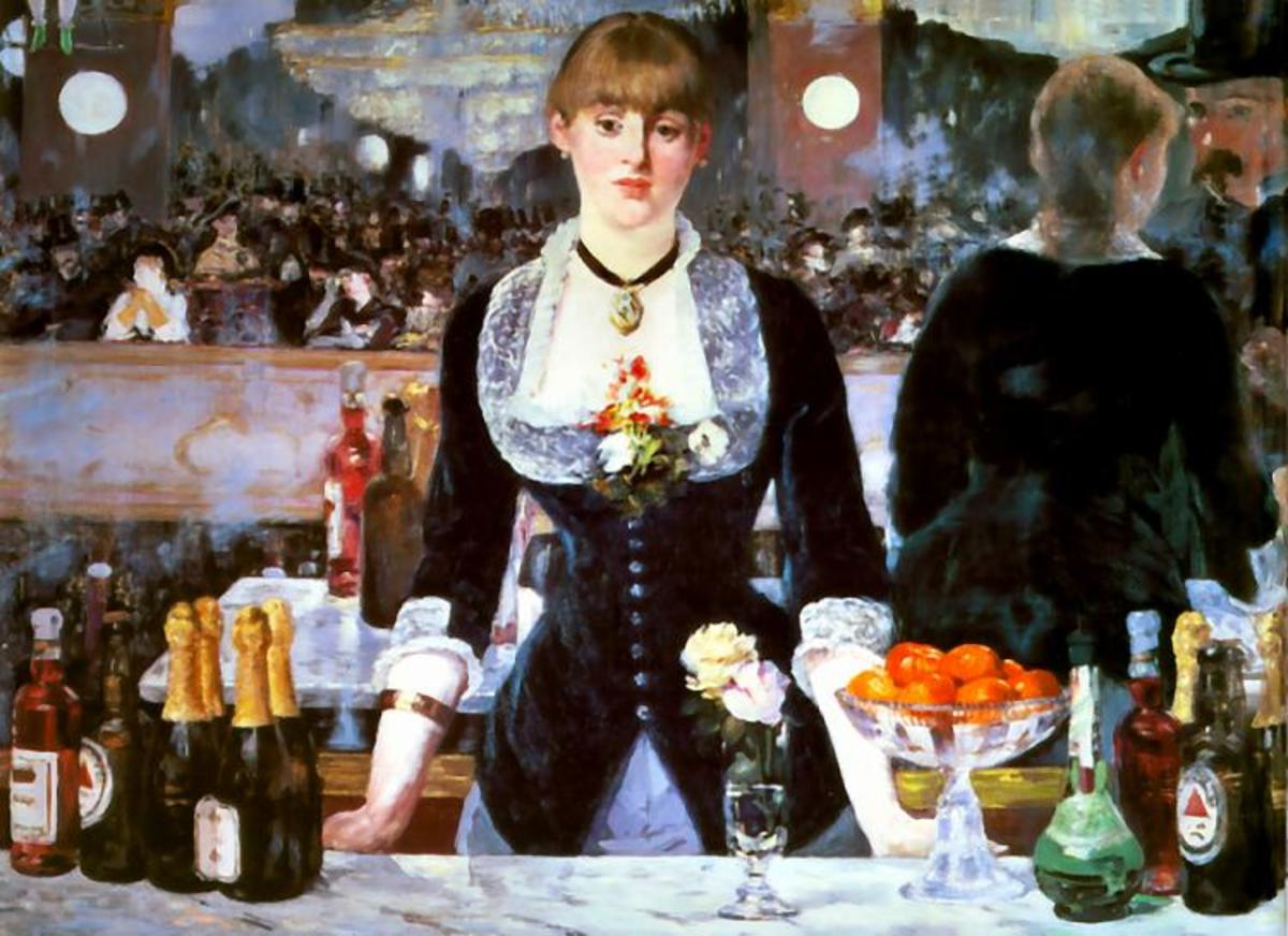 Even though there is the same emphasis on light in this painting, there is an overall brighter feel in Le Bar aux Folies Bergere compared to The Absinthe Drinker.