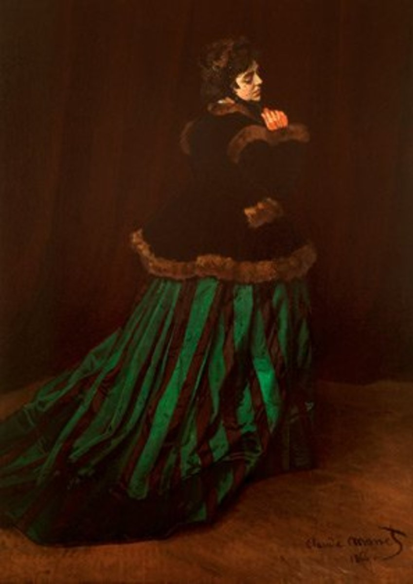 'La Femme a la Robe Verte' is yet another painting of Camille Domcieux by Claude Monet.