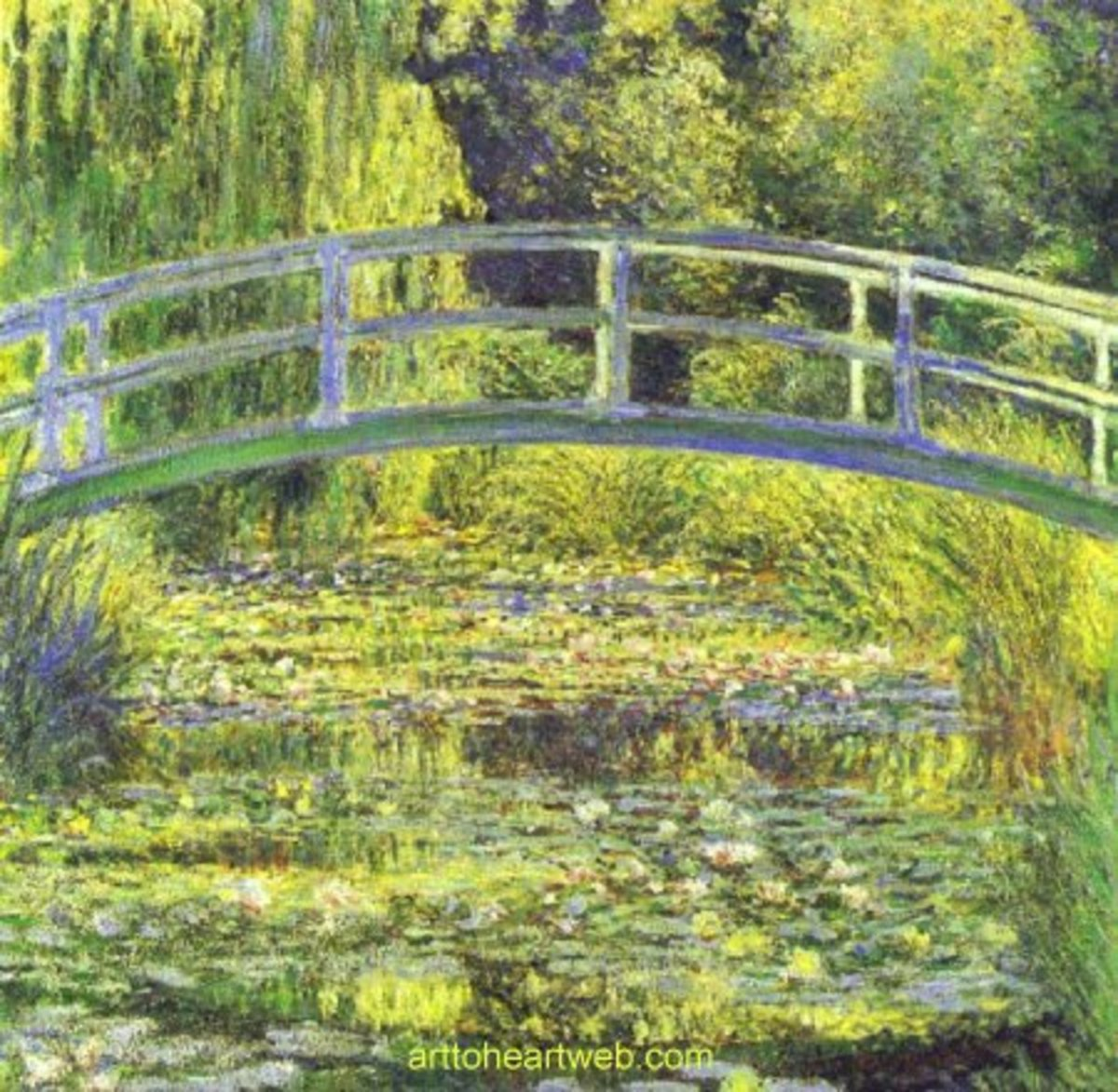 One of Claude Monet's many famous paintings of the water lily pond in the garden at Giverney.
