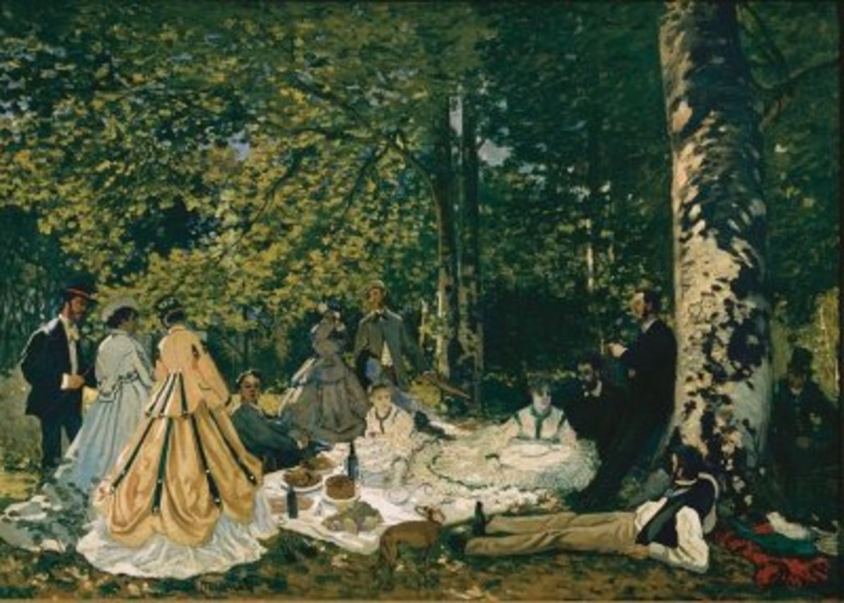 Monet's 'Dejeuner sur L'herbe' features his soon to be wife, Camille Domcieux and friend, fellow Impressionist painter, Frederic Bazille.