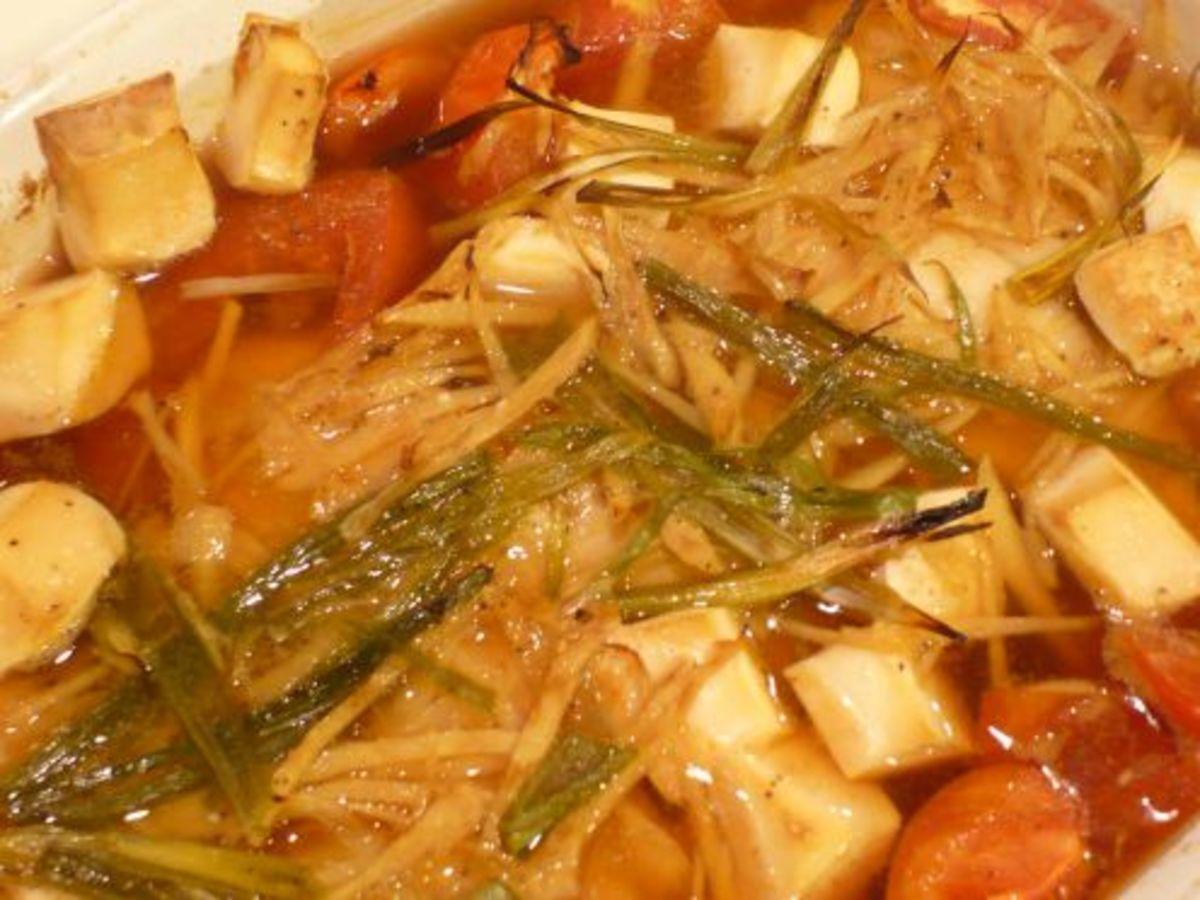 I baked tilapia with scallion,ginger and tofu.
