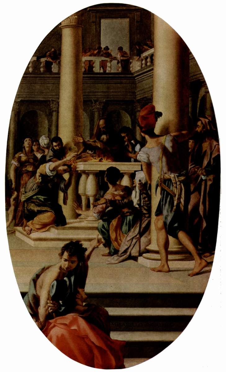 Lavinia at the Altar (ca. 1565) by Mirabello Cavalori, depicting the moment at which Lavinia's hair blazes as an omen of war but ultimate reconciliation.