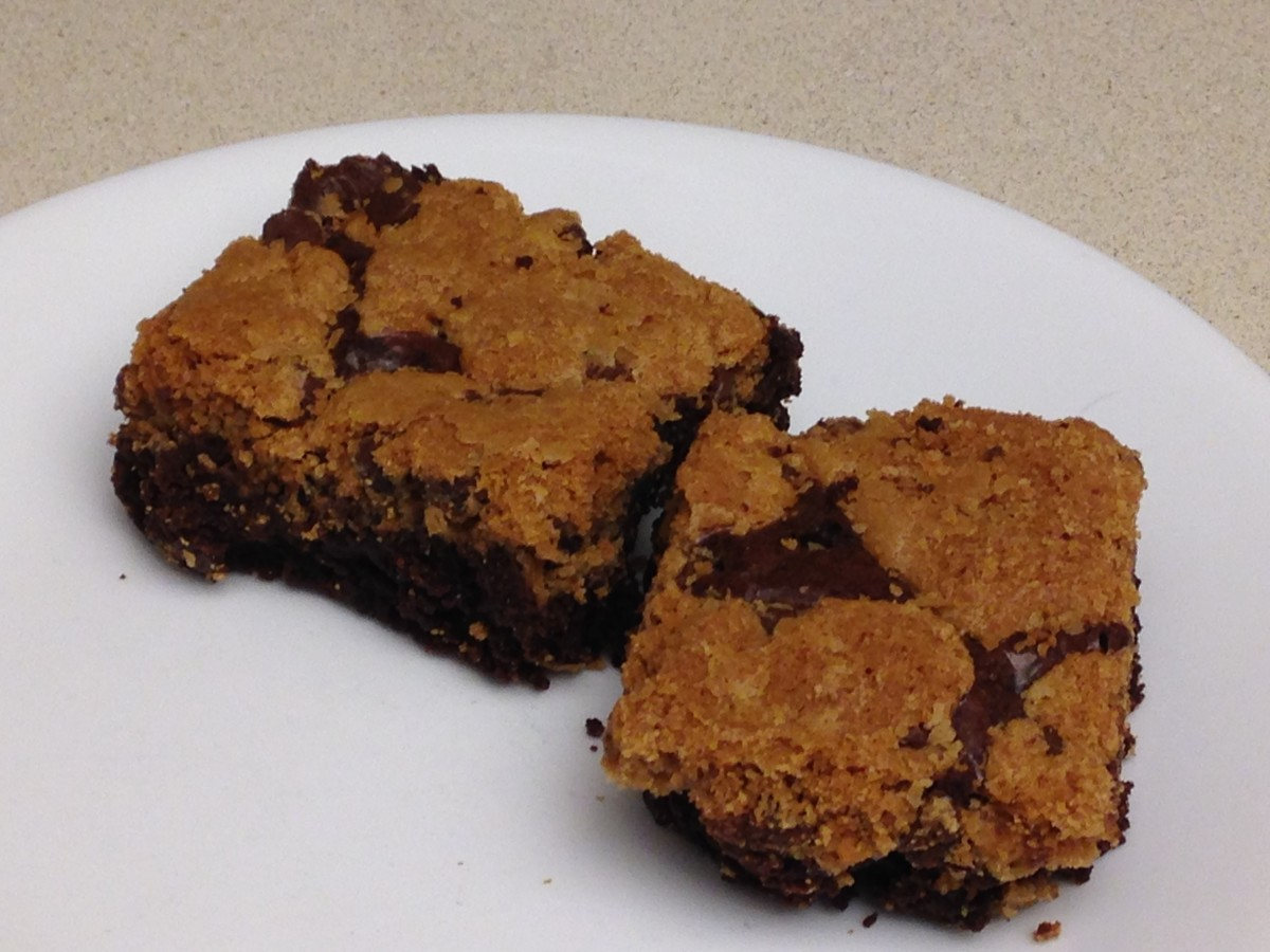 Refrigerated chocolate chip cookie dough spread over boxed brownie batter, and baked