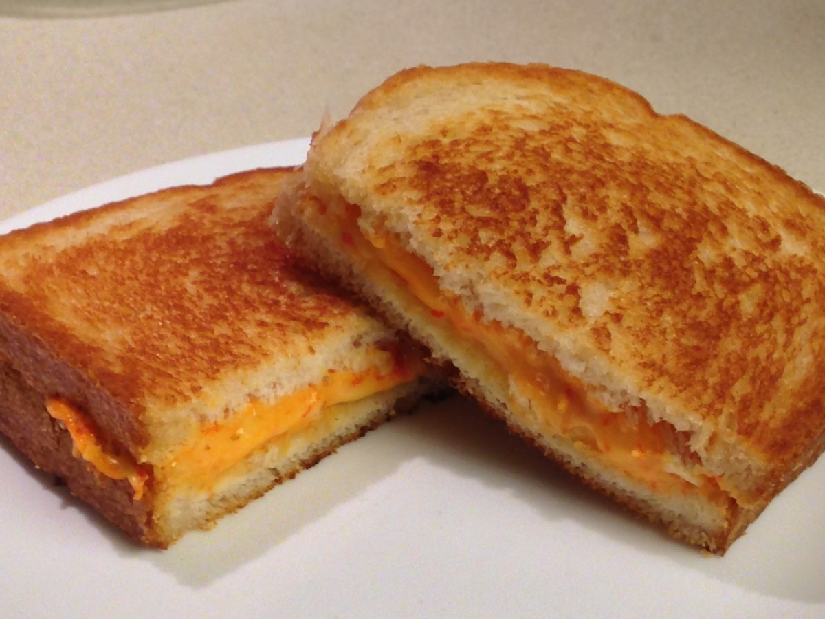 Grilled Pimento Cheese, grilled in coconut oil