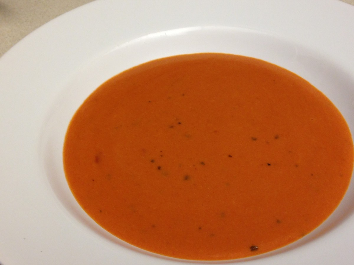 Campbell's Tomato Soup with 1/3 can milk, 1/3 can chicken broth, and 1/2 cup LaMadeline's Tomato Basil Soup.  Great with a scoop of rice too.