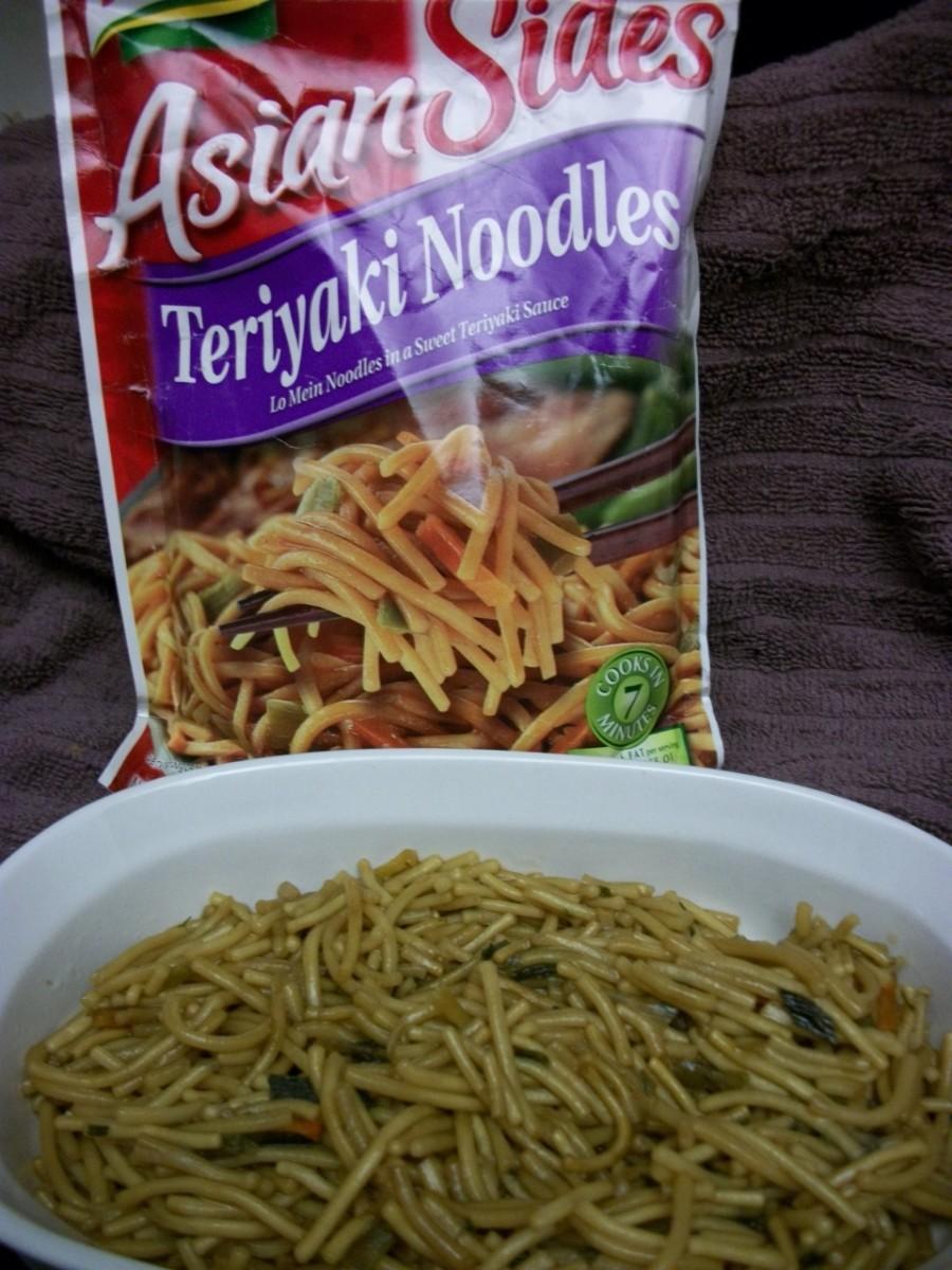 Teriyaki Noodles.  Just add beef strips.