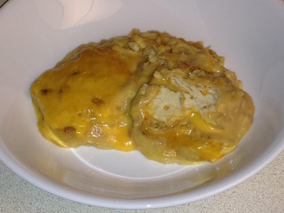 Tuna Casserole with saltine crackers and cheese
