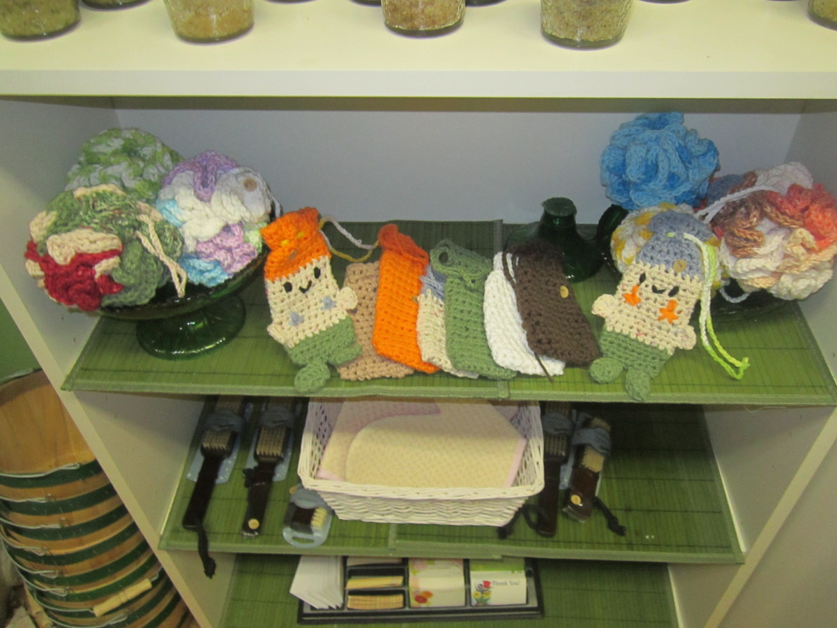 Some of the soap savers and poufs I have for sale at Edelweiss Soap Company.