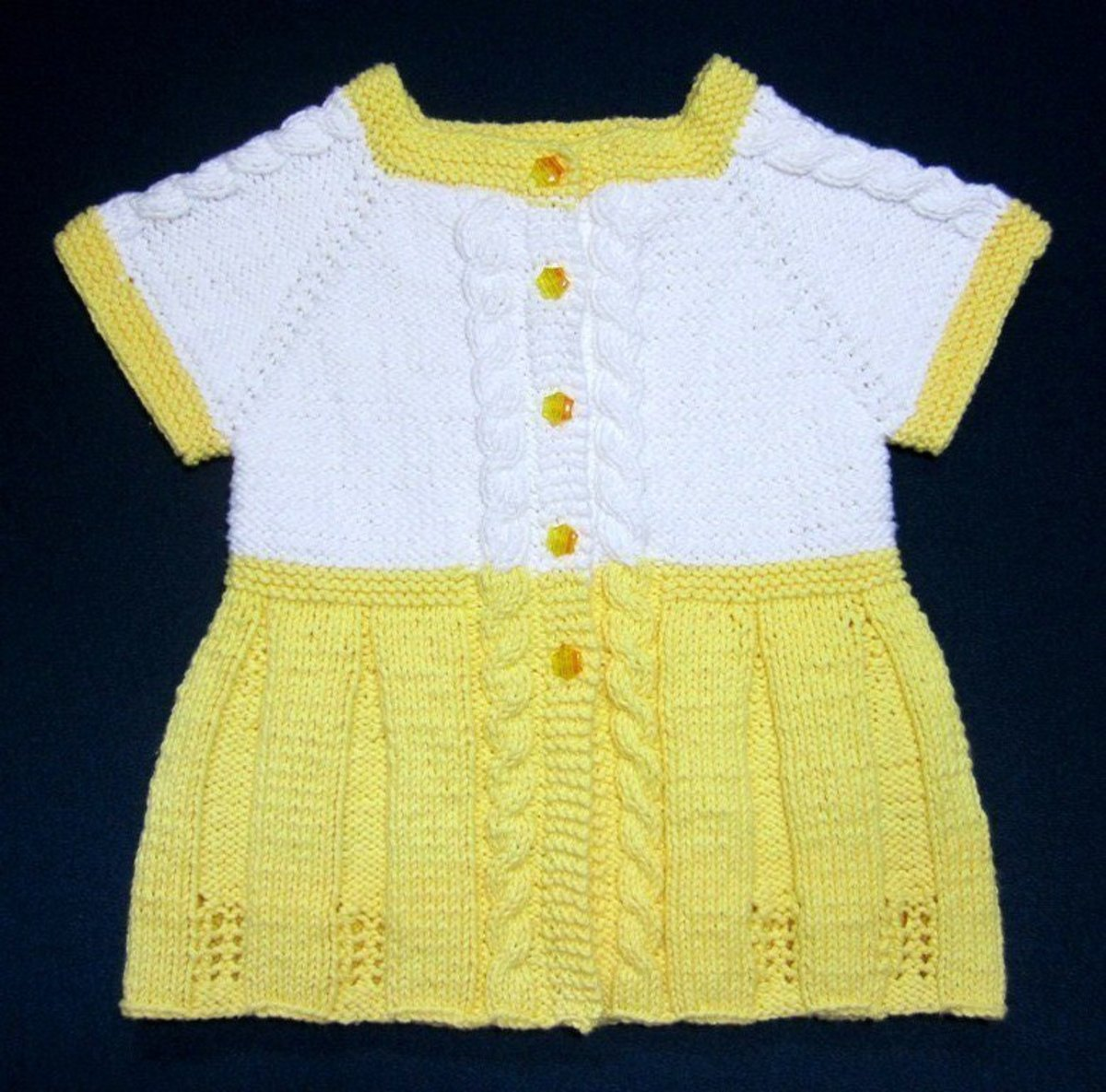Seamless White and Yellow Baby Sweater Dress