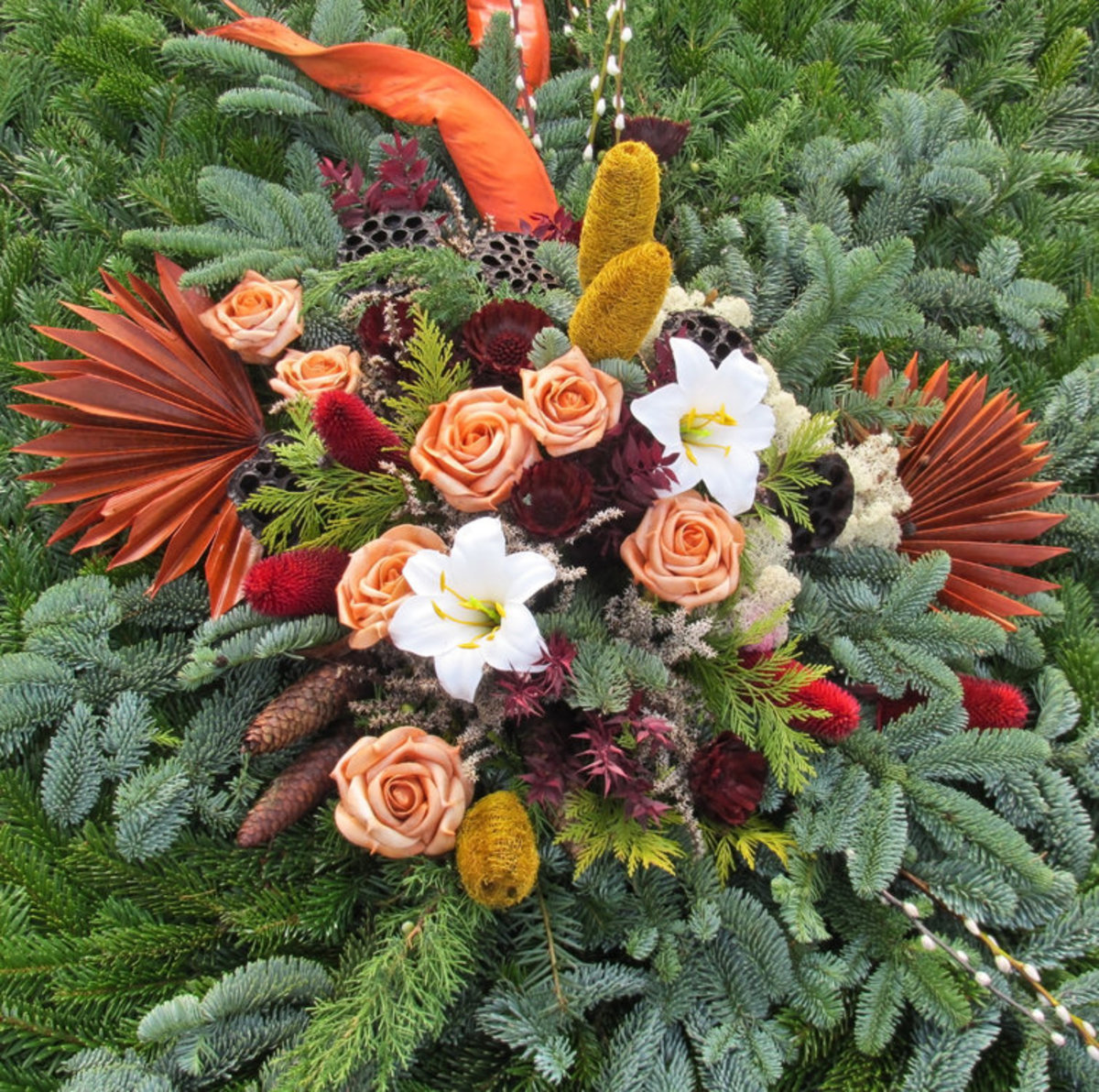 Fall Bouquet of Orange Roses Photo