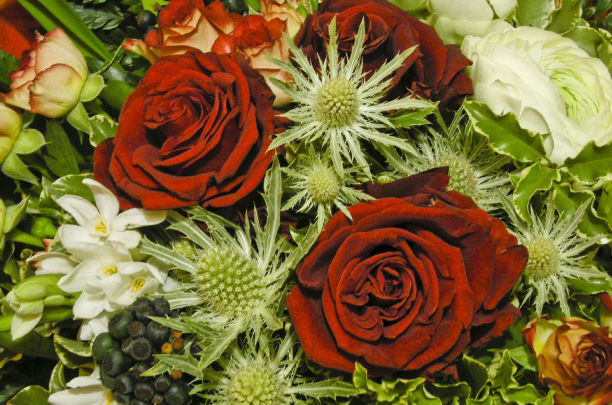 Red Roses Winter Flowers Bouquet