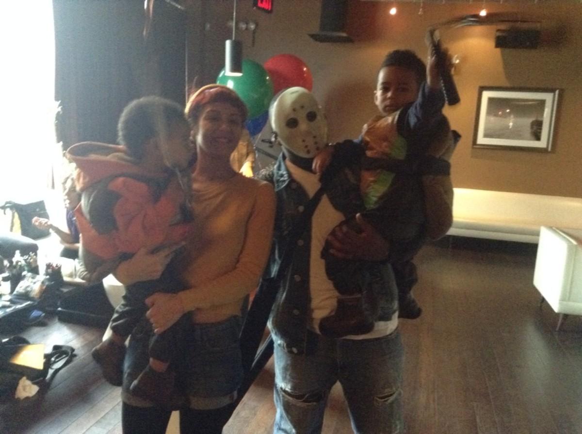 Casey Jones, April O'Neil and two Toddler Mutant Ninja Turtles.