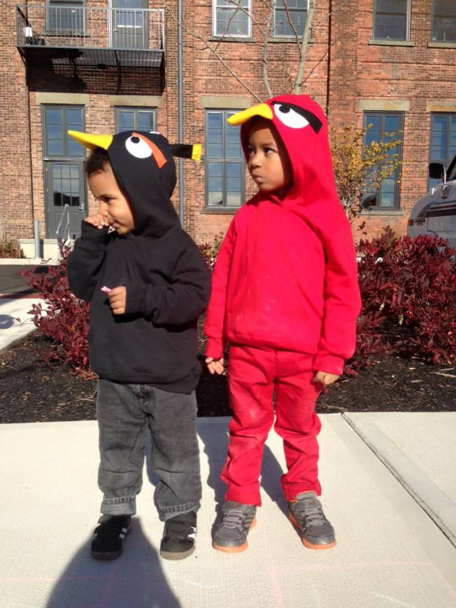 Side view of DIY Angry Bird Hoodies
