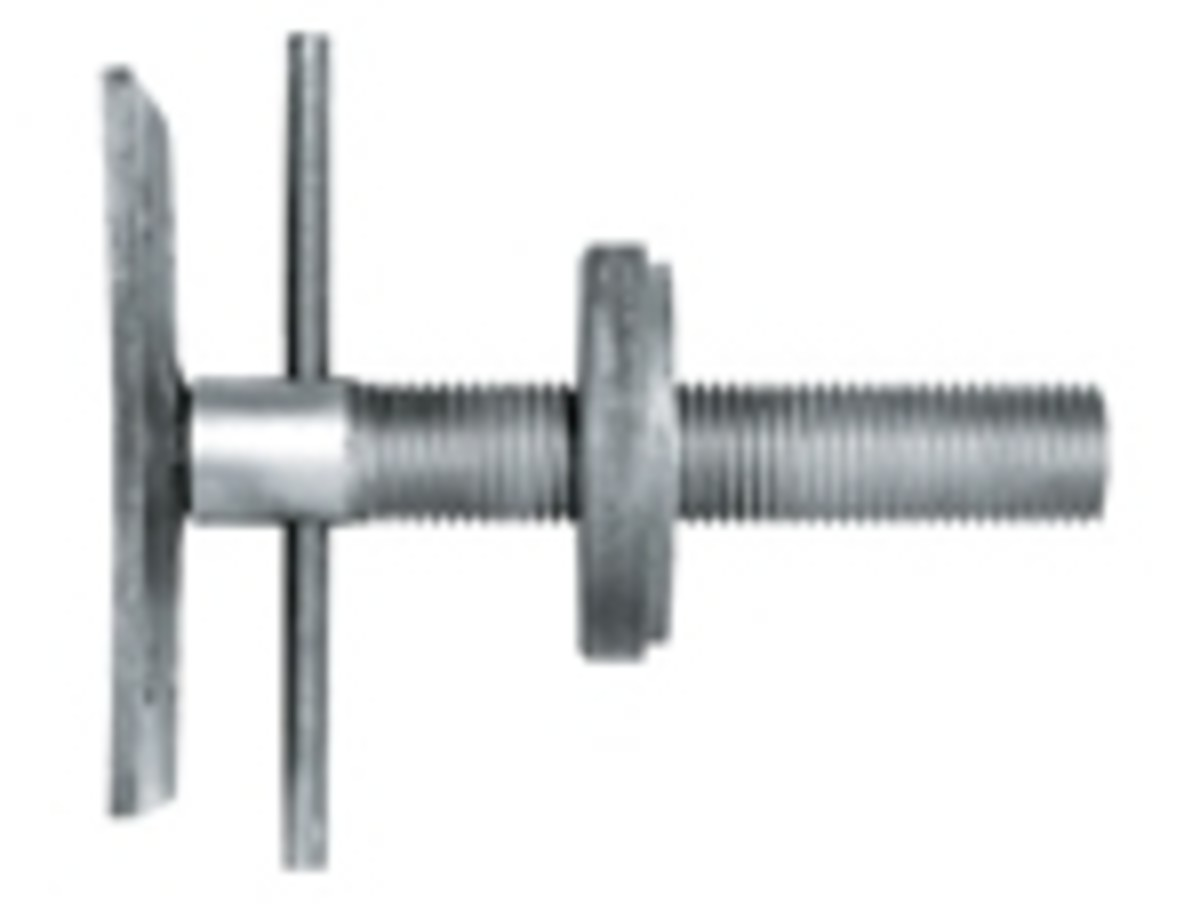 Side view, showing turning bar between plate (on left) and screw (on right).