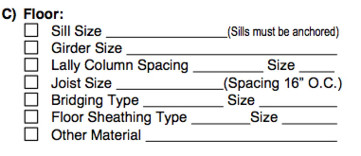 Detailing floor requirements, Part C of Applicant's Checklist in Building Permit.