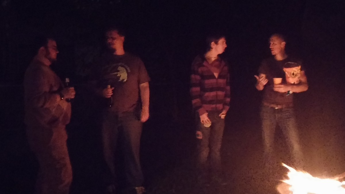 Standing around a Bonfire.  Classic