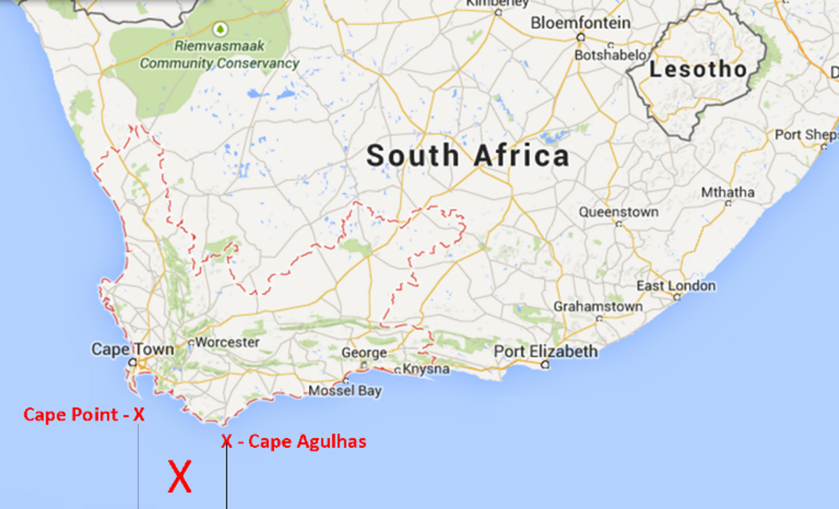 The warm Agulhas current (in the Indian Ocean) and the icy Benguela current (in the Atlantic Ocean) meet somewhere between Cape Point and Cape Agulhas
