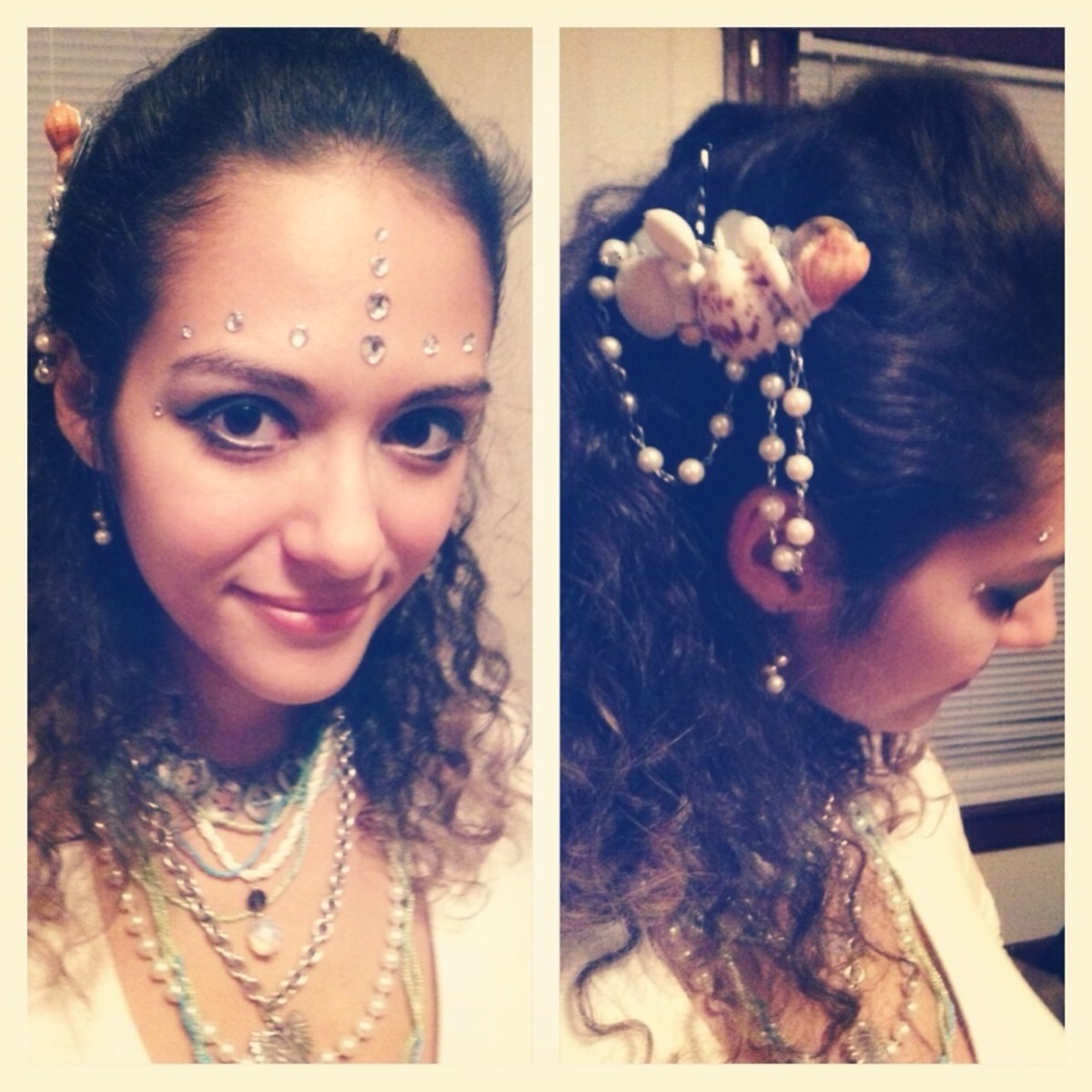 Shell barrette made with tiny mirrors, shells, a foe pearl necklace, and hot glue.  Layered accessories pillaged from sunken ships and rhinestone scales.