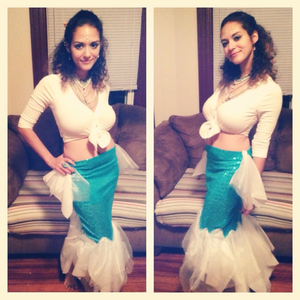 DIY mermaid tail with a cardigan tied into a crop top.