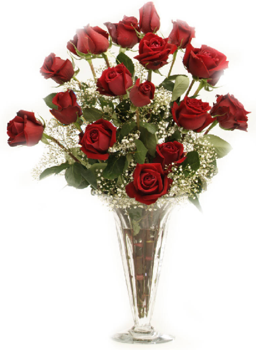 Perfect Bouquet of Long-Stem Red Roses in Crystal Vase