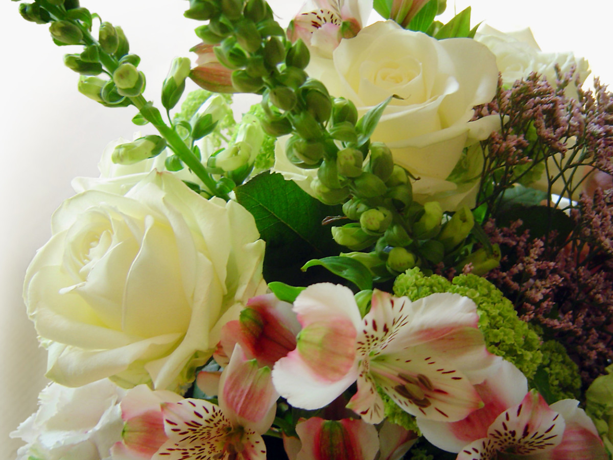 Floral Arrangement with White Roses Photo