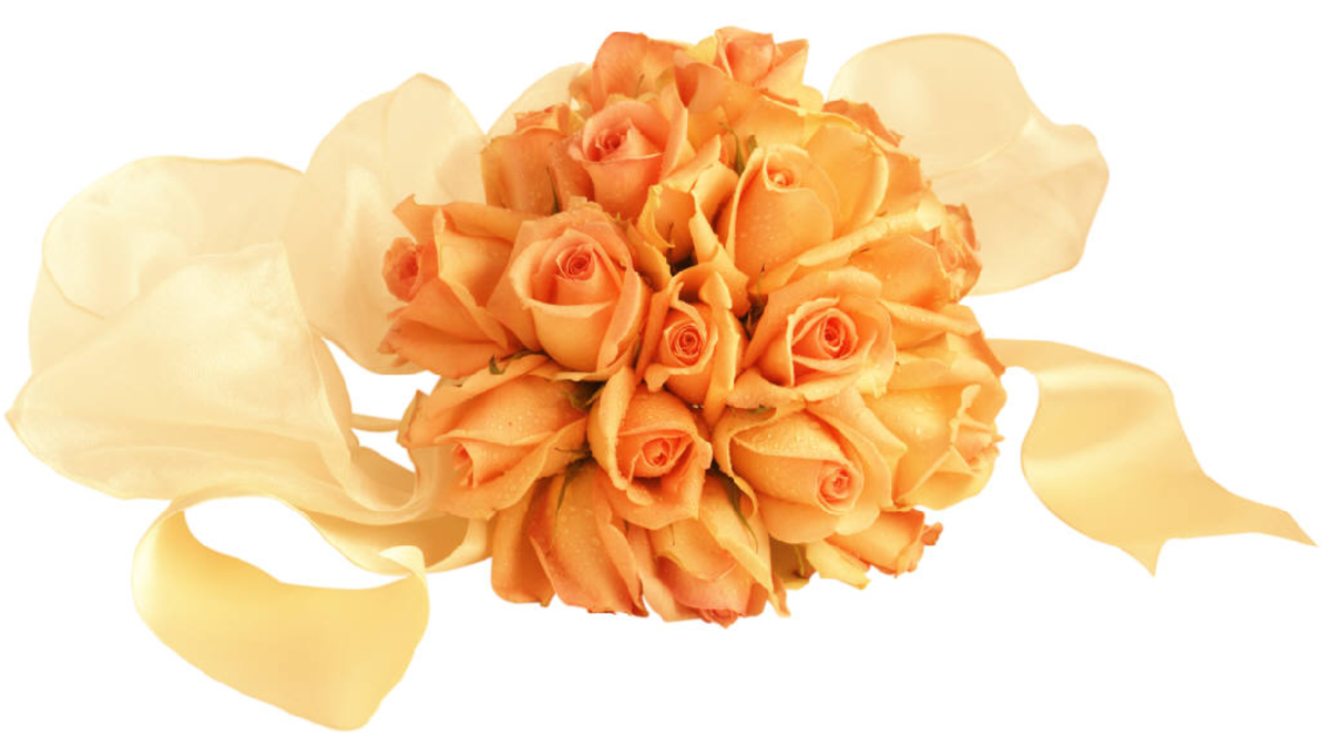 Peach Orange Roses in Bouquet Picture
