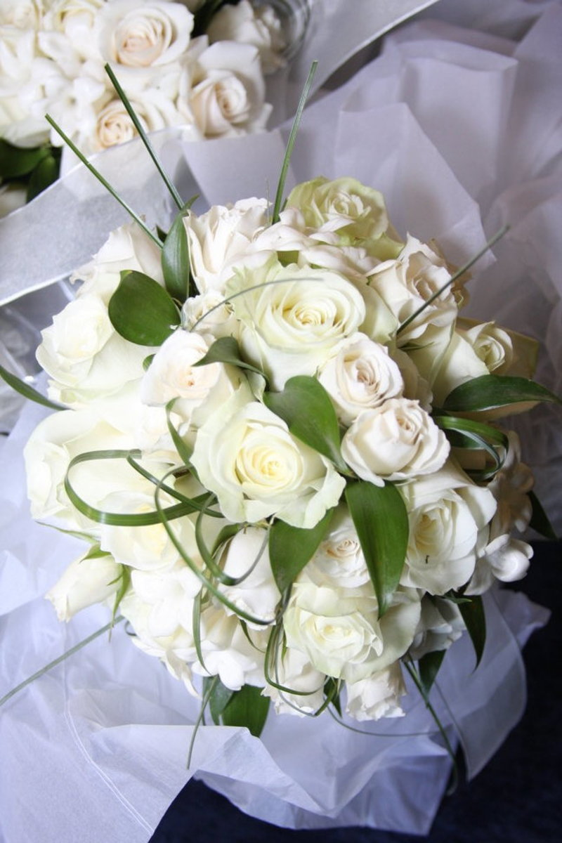 White Roses Bridal Bouquet Picture