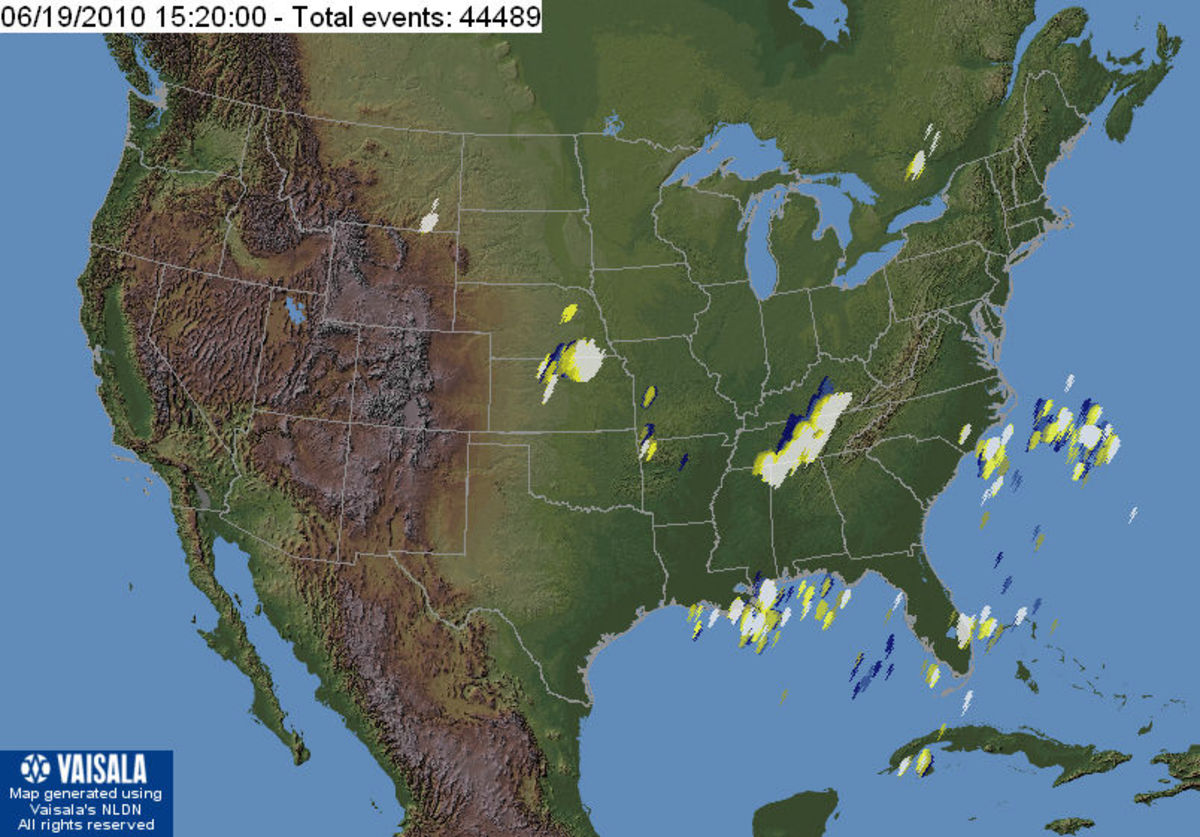 U.S. Lightning strikes up to the minute - at the time I wrote this hub.