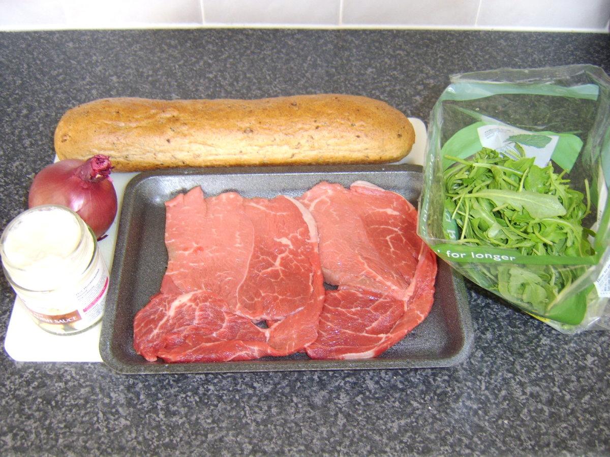 Quick and Easy Steak Sandwich Ingredients
