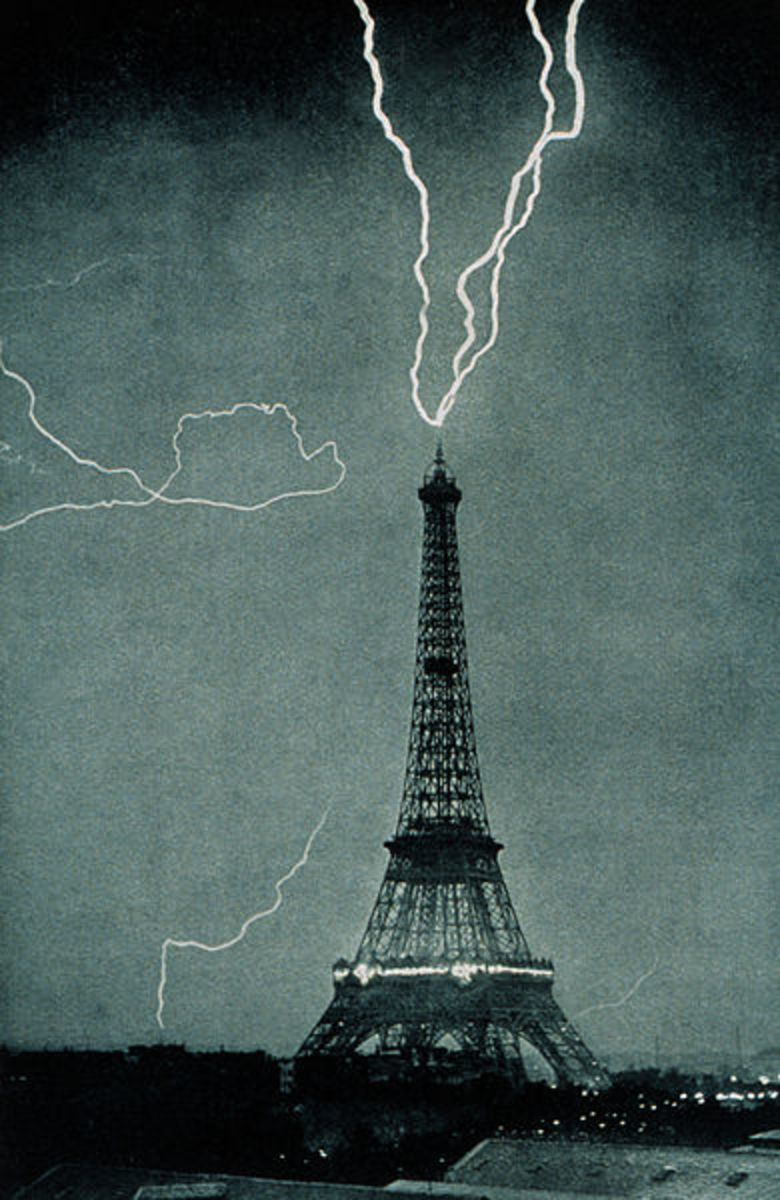 The Eiffel Tower is struck by lightning in this 1902 photo.  Ground-to-cloud lightning often originates in tall structures like this.