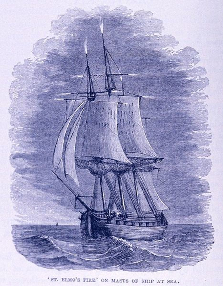 1886 depiction of St. Elmo's Fire on a ship's masts.