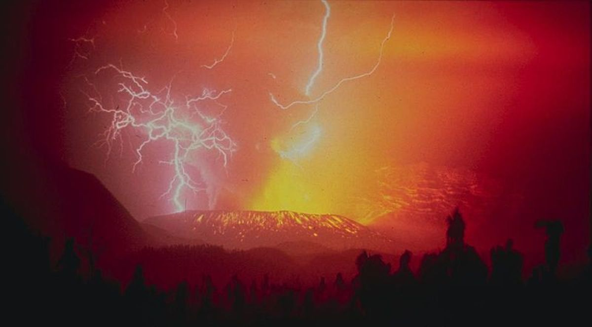 Volcanic lightning on Galunggung volcano, Indonesia in 1982.