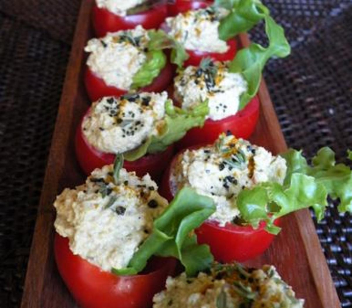 Easy finger foods, stuffed cherry tomatoes
