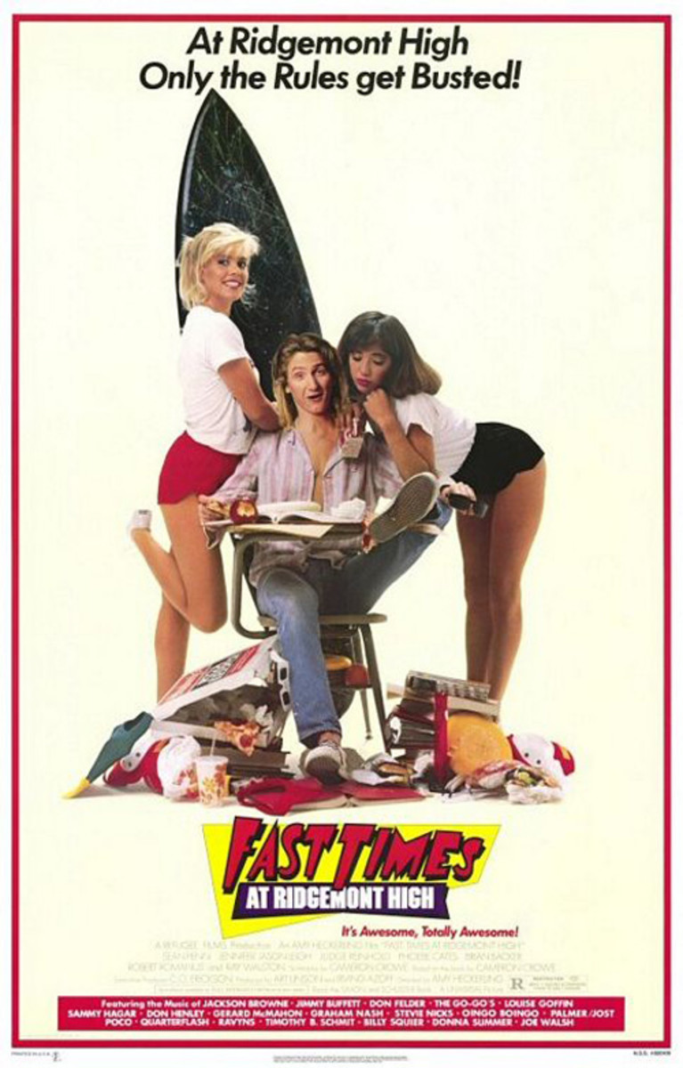 Cast: Sean Penn Jennifer Jason Leigh Judge Reinhold Phoebe Cates Ray Walston Is there no stoner cooler than Jeff Spicoli, played to hilarious effect by Sean Penn? From the first moment we spy the pothead surfer, to his well-known movie quote: All I n